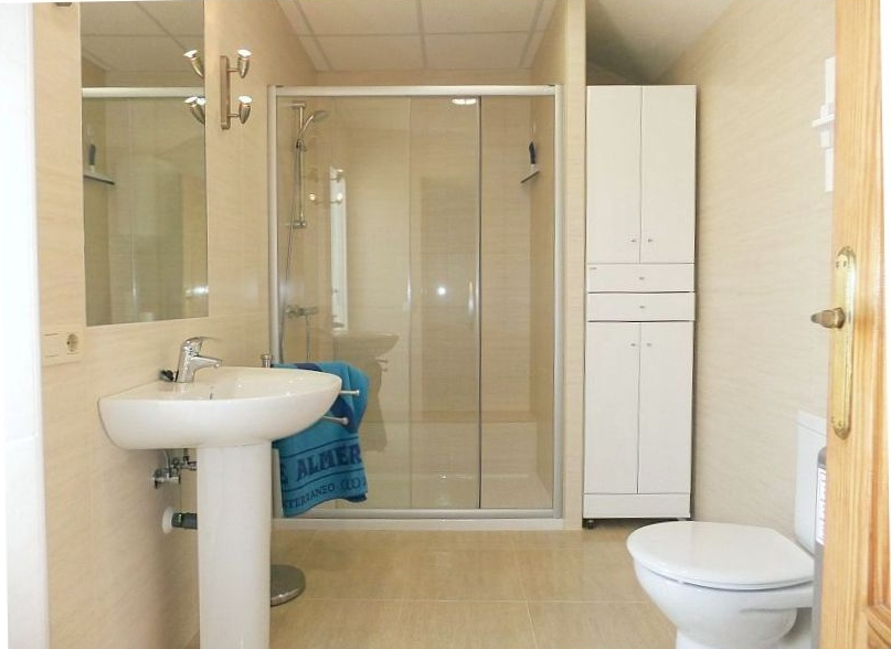 The bathroom on the 2nd floor naturist apartment